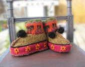 Folksy child's felted wool slippers