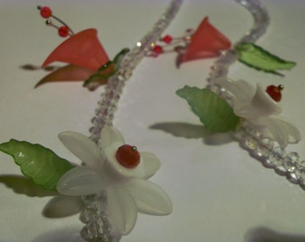 Crystal and Lucite Flower Necklace