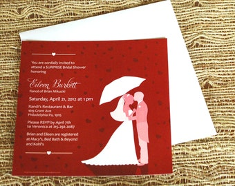 "Heart Bridal Shower Invite 5.75"" Square, wedding stationary, bride, groom, wedding invite, love, red, customize"