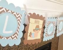 Lil Cowboy Baby Shower Banner - Baby Blue & Brown Chevron - Party Pack Available