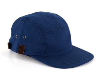 Navy Blue 5 Panel Snapback, Canvas Leather Snapback, Camper Hat Made in the USA