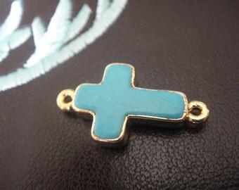Vermeil, 18k gold over 925 sterling silver bezel set Turquoise Sideways Cross, turquoise cross,cross,vermeil bezel set sideways cross