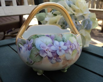 Porcelain Hand Painted Basket Violets