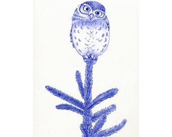 greeting card with little owl on tree