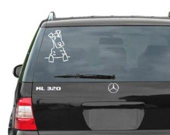 Welsh/Airedale Terrier vinyl car decal/sticker
