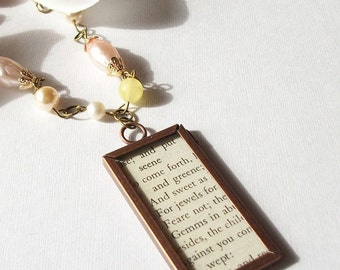 SALE Vintage Repurposed Assemblage Poetry Poem Memory Glass Pink Yellow White Pearl Antique Brass Copper Necklace Toggle Clasp