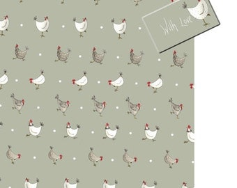 Chicken Wrapping Paper - Easter Wrapping Paper, Chicken Gift Wrap, Chicken Gift, Hens and Spots - Sage Green