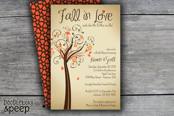 Fall Wedding Shower Invitations: PRINTABLE Fall In Love Bridal Shower By DoodlebugAndPeep