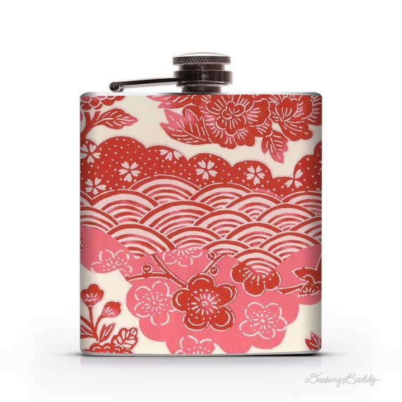 Pink and Red Japanese Yuzen Floral  - 6oz Hip Flask