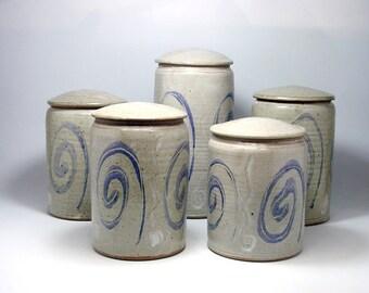 Kitchen Storage Jar Set of Five Lidded Jars