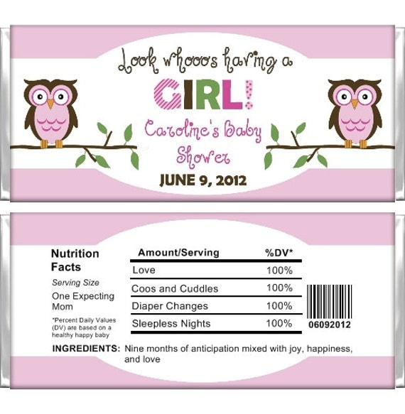 items similar to personalized candy bar wrappers baby shower girl