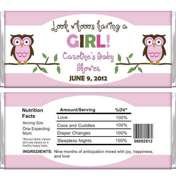 Personalized Chocolate Wrappers Template Personalized Candy Bar Wrappers Baby Shower By