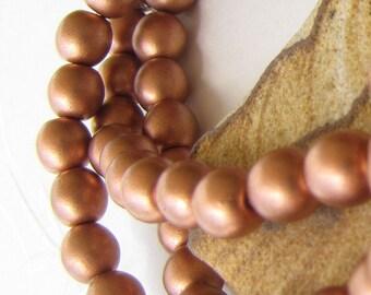 Round Druk Beads Brown-Sienna Pearl 6mm (019)