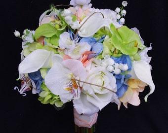 Wedding Bouquet Blue and Peach Hydrangeas, White Roses and Calla Lilies Silk Flower Bride Bouquet - Almost Fresh
