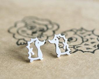 sterling silver hedgehog earrings animal character earrings studs post earrings