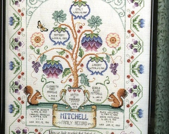 Jacobean Family Tree Pedigree Genealogy Custom Cross Stitch Sampler Personalized for You