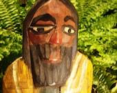 Vintage Folk Art Wood Carving Monk Saint Santo