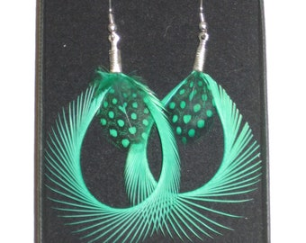Green Feather Earrings Silver Plated Curled Hoops Green and Black Spotted Polka Dot Handmade