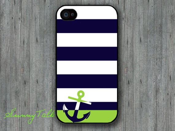Iphone 4/4S Case - Anchor Personalized Navy Stripe on Iphone 4 case, Iphone 4S case, Plastic hard case, Waterproof iphone case