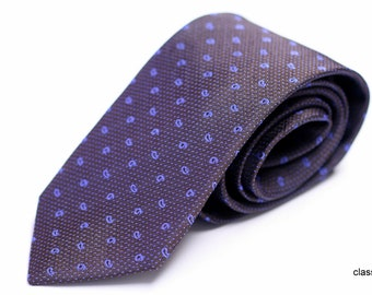 Silk Tie: Small Baby Blue Paisley on Brown