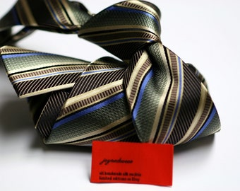 SKINNY Silk Tie with Stripes in Brown, Green, Blue, Black
