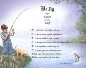 Personalized Name Poem or Name Keepsake on Boy Fishing Print I