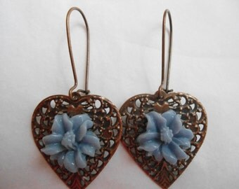Copper and blue hibiscus earrings:  Antique copper filigree heart with periwinkle blue hibiscus flowers earrings nickel and lead free