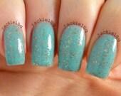 Lady Liberty - Minty Aqua Creamy Gold Glitter Custom Handmade Indie Nail Polish