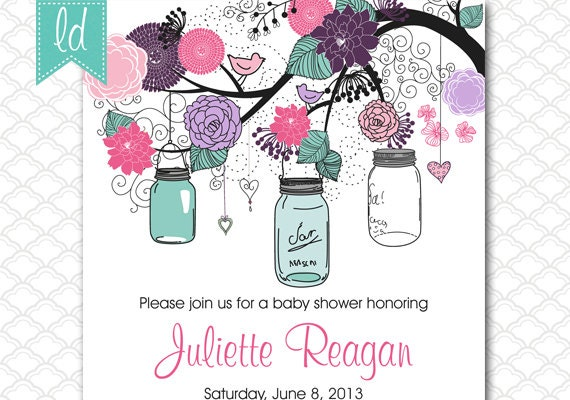 Turquoise And Pink Wedding Invitations: Mason Jar Wedding Invitation Pink Purple Turquoise Teal