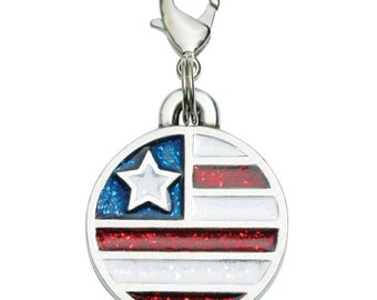Pewter American Flag Pet Tag - Freedom
