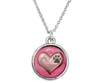 Rhodium Plated Pet Lover Necklace - Pink Heart with Paw