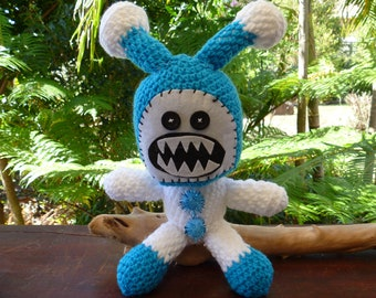 Astromaniac crocheted monster, blue and white