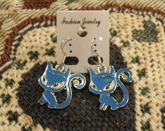 Blue Cats 1 Earrings