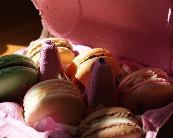 Selection of six different flavoured Macarons