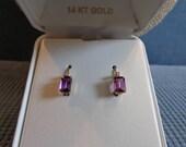 Vintage Emerald Cut Amethyst Earrings-Diamonds-Gift Idea-February Birthstone-Free shipping in the USA