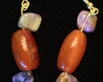 Carnelian and Charoite Drop Earrings with Gold-Plated Wire