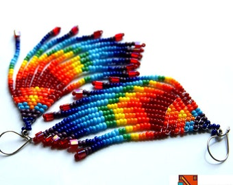 Amazing Ear rings Rainbow Collection peyotle beads tribal hand crafted christmas gift multicoloured