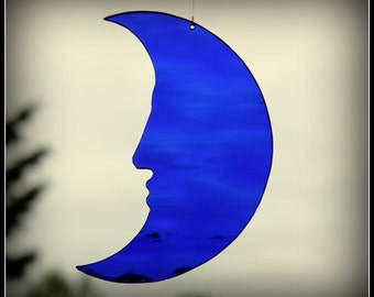 Moon - crescent moon - man-in-the-moon, cobalt blue glass