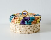 Colorful Vintage Basket with Lid and Wooden Handle