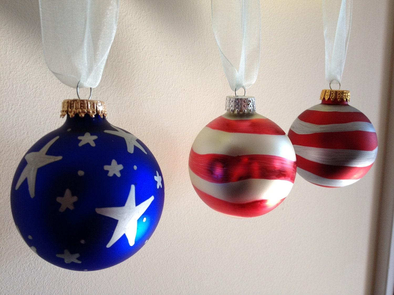 Set of three american flag ornaments