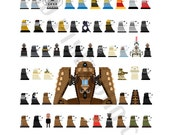 Pixel (8 bit) Every Dalek Ever Poster