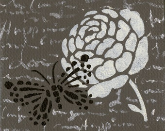 Mini Floral Butterfly Painting with Easel