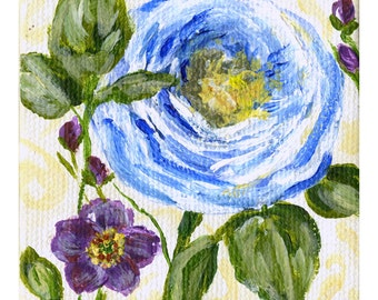 Mini Blue Floral Painting with Easel