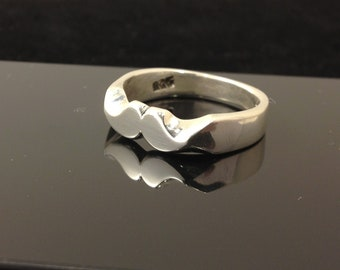 New Hand made mustache ring ( silver ) Made to order