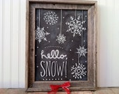 Hello Snow Snowflake Chalk Art Instant Download