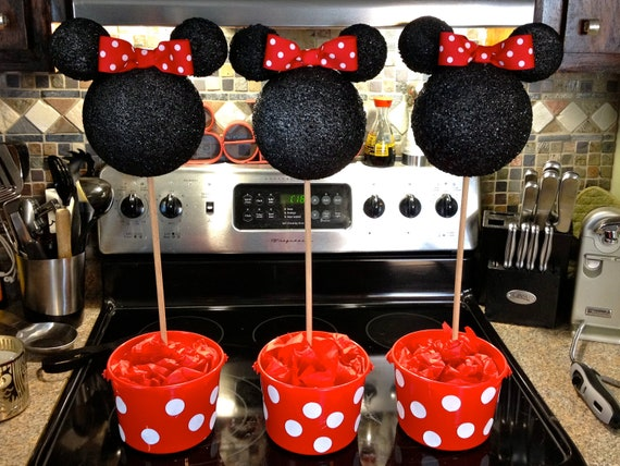 Items similar to minnie mouse centerpiece topiary red or