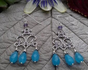 Blue Quartz Chandelier Earrings