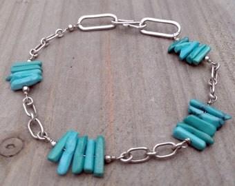 Turquoise & Sterling Link Bracelet