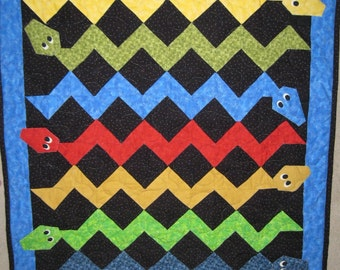 "Baby Boy- Wacky Snake Quilt - 37""x41"""