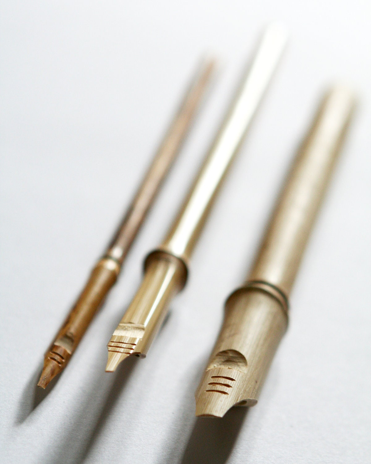 Set of hand carved bamboo ink dip pens for calligraphy